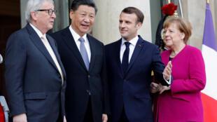 Từ phải sang: Thủ tướng Đức Angela Merkel, tổng thống Pháp Emmanuel Macron, chủ tịch Trung Quốc Tập Cận Bình và chủ tịch UBCA Jean-Claude Juncker tại điện Elysée Palace, Paris, 26/03/2019.