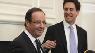 François Hollande with Ed Miliband in London