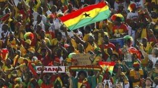 Mashabiki wa timu tya taifa ya Ghana Black Stars.