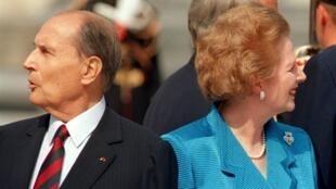 Le président François Mitterrand et le Premier ministre britannique Margaret Thatcher, en juillet 1989.