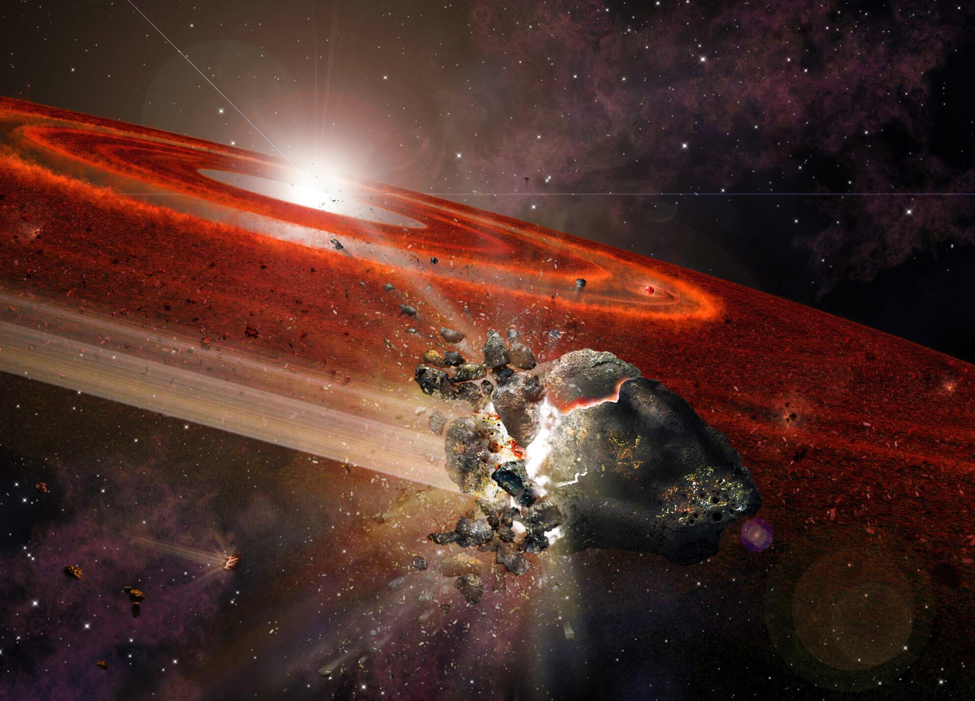 Representación artística del disco de desechos que rodea HD 107146. Este sistema estelar adolescente presenta indicios de que en sus bordes externos hay enjambres de objetos del tamaño de Plutón que se codean con objetos más pequeños.