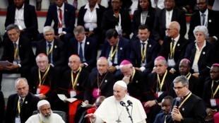 Le pape François lors de son discours à Maputo, Mozambique, le 5 septembre 2019.