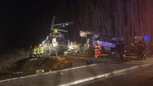 The site of the collision between a train and a bus in Millas, south-west France, 14 December 2017