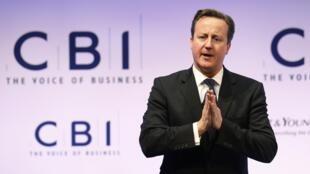 Le Premier ministre britannique David Cameron devant la conférence annuelle de la CBI, le 19 novembre 2012.