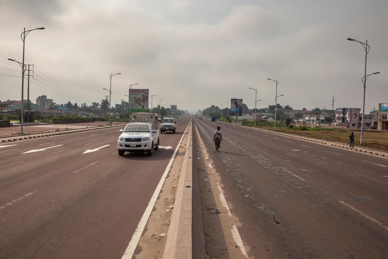 An empty street in Kinshasa on 19 December 2016.