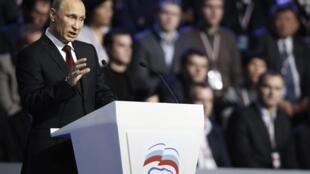 O premiê russo e forte candidato às próximas eleições presidenciais na Rússia, Vladimir Putin.