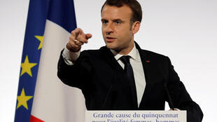 French President Emmanuel Macron speaks during the International Day for the Elimination of Violence Against Women