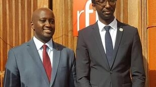 Rwanda's state minister for the East African Community Olivier Nduhungirehe (Left) and France's special envoy to Rwanda Hervé Berwille (Right) confirm their commitment to deepening bilateral ties, 8 April 2019