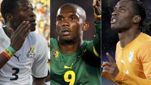 Le Ghanéen Asamoah Gyan, le Camerounais Samuel Eto'o et l'Ivoirien Didier Drogba.