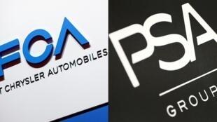 Los logotipos de los grupos automovilísticos FCA y PSA, en sendas fotos de archivo