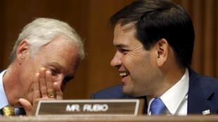O senador de origem cubana Marco Rubio (à direita) e o senador Ron Johnson durante negociações para restabelecer os laços diplomáticos entre Cuba e os EUA.