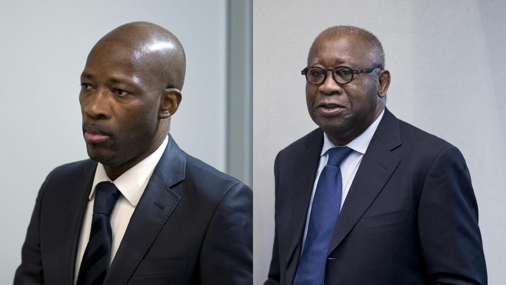 Waziri wa zamani wa Vijana nchini Cote d'Ivoire Charles Blé Goudé (kushoto) na rais wa zamani Laurent Gbagbo (kulia), katika Mahakama ya Kimataifa ya ICC huko Hague.