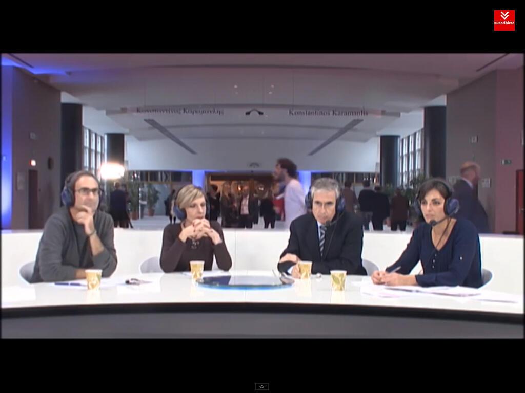 Jordi Sebastià, Beatriz Becerra, Ramón Jáuregui y Lola Sánchez en el Parlamento Europeo, Bruselas.