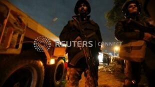 埃及安全部队加强安全防卫。2018-12-28