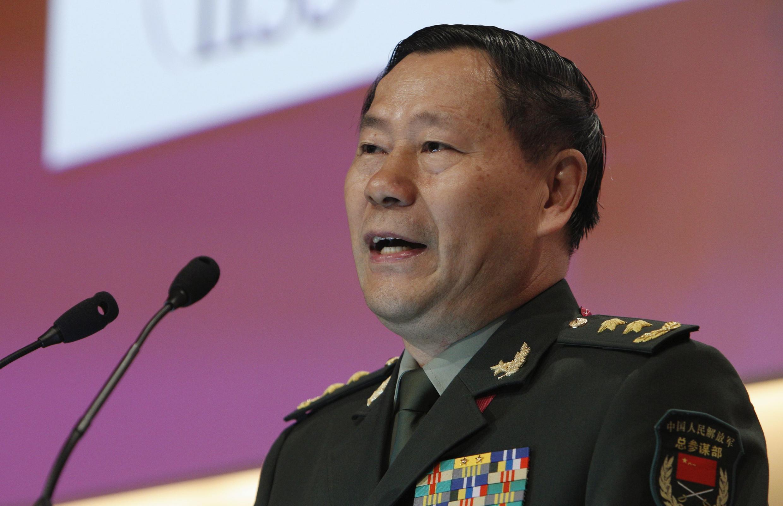 中國解放軍副總參謀長戚建國2013年6月2日在新加坡香格里拉論壇活動中發言。