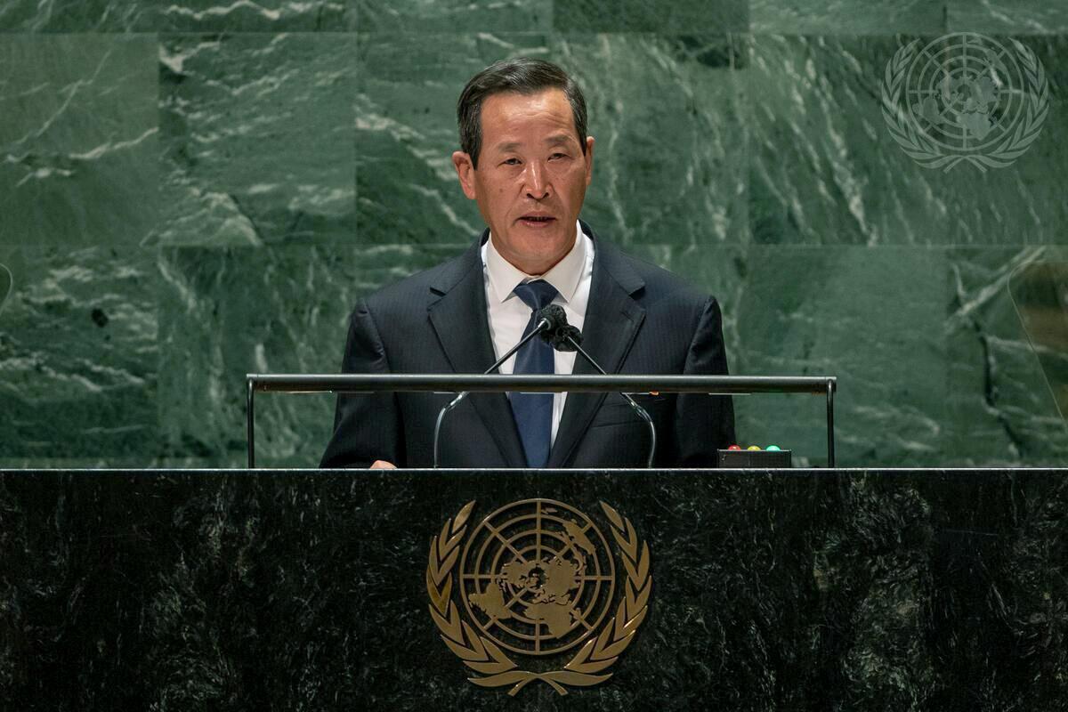 朝鮮駐聯合國大使金星。攝於9月27日聯大。