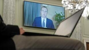 Mark Zuckerberg, le patron de Facebook, lors de son audition devant une commission du Sénat américain, le 28 octobre 2020.