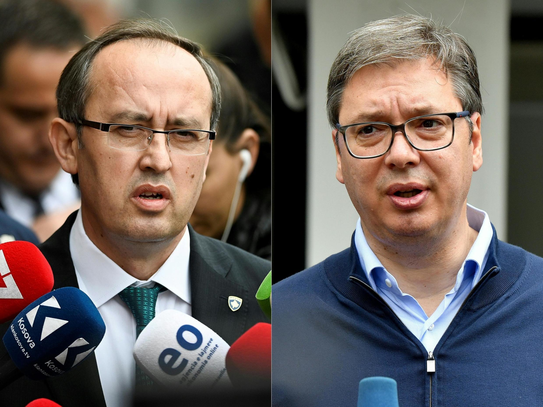 Le président serbe Aleksandar Vucic (à droite) et le Premier ministre kosovar Avdullah Hoti (à gauche) ont repris les négociations sous l'égide de l'Europe à Bruxelles. (photo d'illustration)