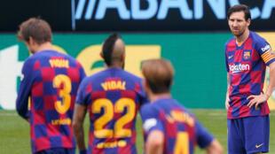 Lionel Messi et ses coéquipiers du Barça ont été contraints à un match nul sur la pelouse du modeste Celta Vigo,  le 27 juin 2020