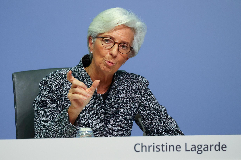 Christine Lagarde, présidente de la Banque centrale européenne, lors d'une conférence de presse à Francfort en Allemagne, le 12 mars 2020.