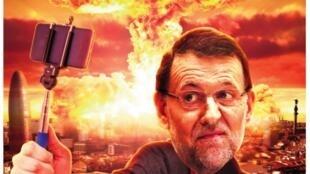 Revista satírica Mongolia mostra chefe do governo espanhol fazendo uma selfie diante de Barcelona destruída por uma bomba.