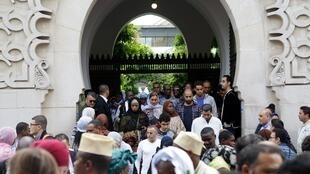 Worshippers exit the Grand Mosque of Paris in September 2017.