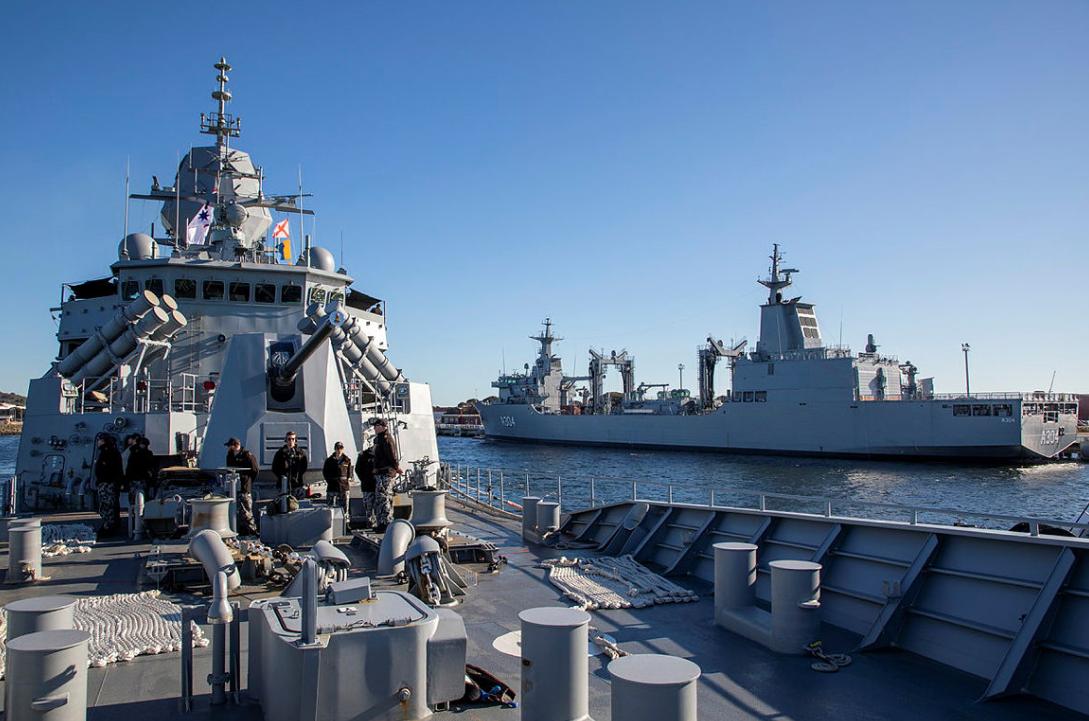 前往參加軍演的澳大利亞皇家海軍軍艦