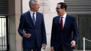 Le ministre français de l'Economie Bruno Le Maire avec son homologue américain, Steven Mnuchin, à Bercy, mercredi 27 février 2019.