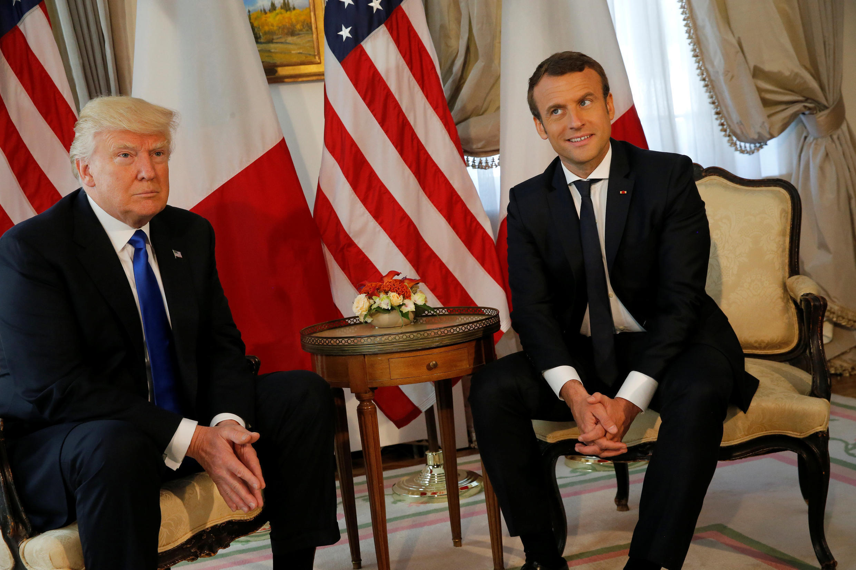 美国总统特朗普与法国总统马克龙在北约会议前会晤,2017年5月25号,美国驻比利时大使馆