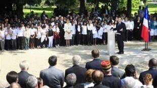 Nicolas Sarkozy a présidé la cérémonie commémorant l'abolition de l'esclavage le 10 mai au Jardin du Luxembourg.