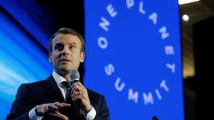 O presidente da França, Emmanuel Macron, na cúpula mundial One Planet.
