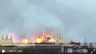 拉薩大昭寺火災視頻截圖