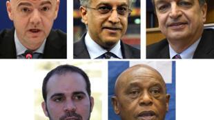 Le cheikh Salman (c) est le candidat de l'Afrique pour la présidence de la Fifa.