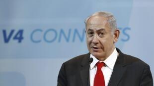 Le Premier ministre israélien, ce mercredi 19 juillet à Budapest, lors d'une conférence de presse commune avec le groupe de Visegrad.
