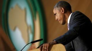 Barack Obama (ici à l'UA le 28 juillet 2015) a annoncé l'exclusion prochaine du Burundi de l'Agoa, le 30 octobre 2015.