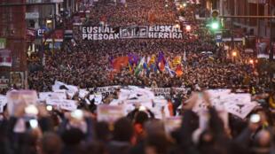 Manifestação pela libertação de prisioneiros bascos em Bilbao, janeiro de 2016.