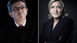 Mélenchon e Le Pen: muitas semelhanças apesar dos extremos políticos