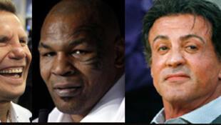 Da esquerda para direita: O mexicano Julio  Cesar Chavez, o americano Mike Tyson e o ator americano Sylvester Stallone.