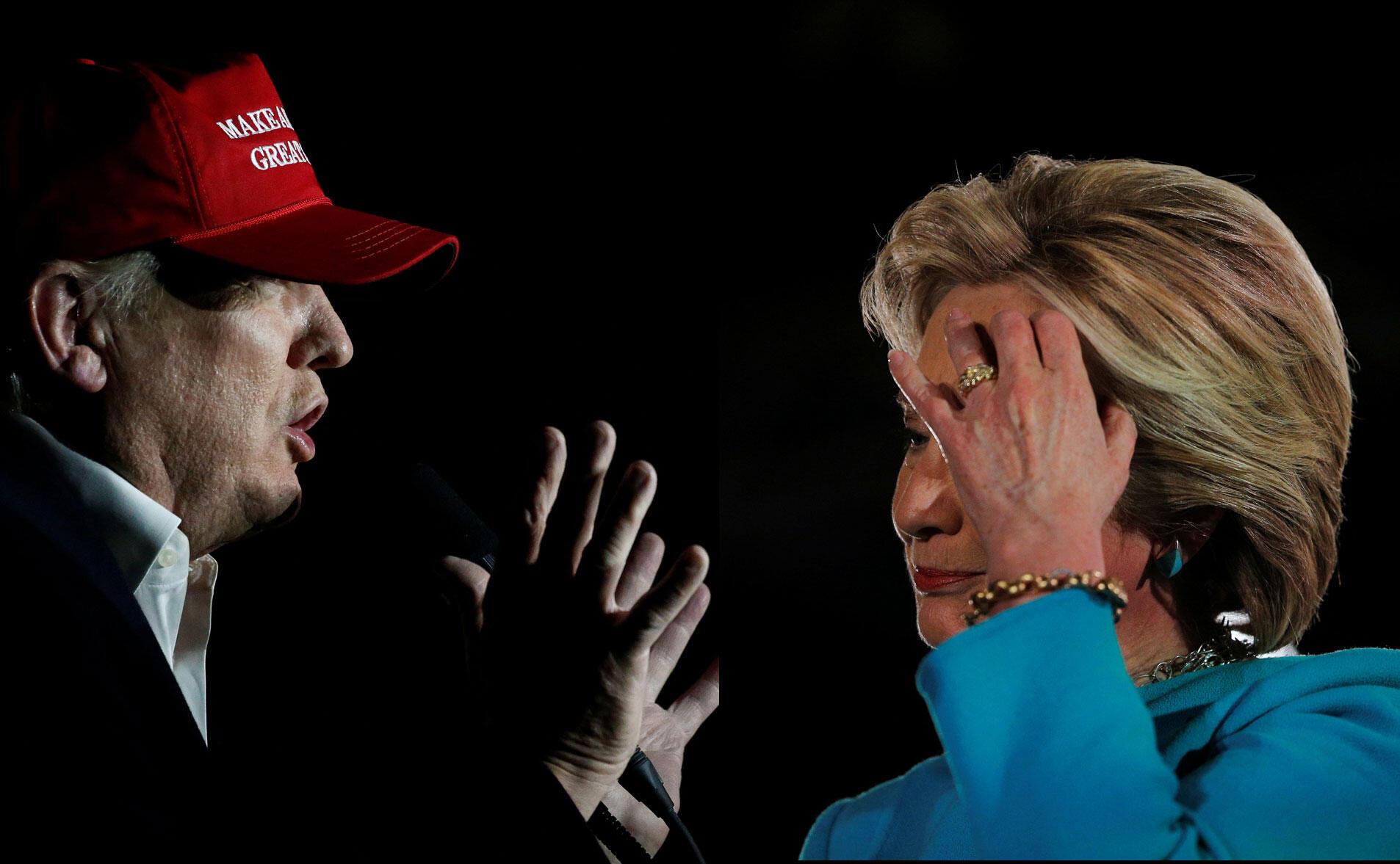 Fotomontagem dos candidatos nos seus últimos comícios. Donald Trum em Pennsylvania e Hillary Clinton em New Hampshire. Pesquisa aponta Hillary com pequena vantagem sobre Trump6/11/16