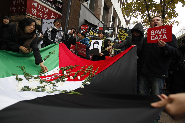 Biểu tình tại Seoul phản đối Israel can thiệp quân sự tại Gaza, 16/11/2012