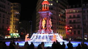 "The Jacobins fountain in Lyon, France, during the ""Fête des Lumières"" 2010"