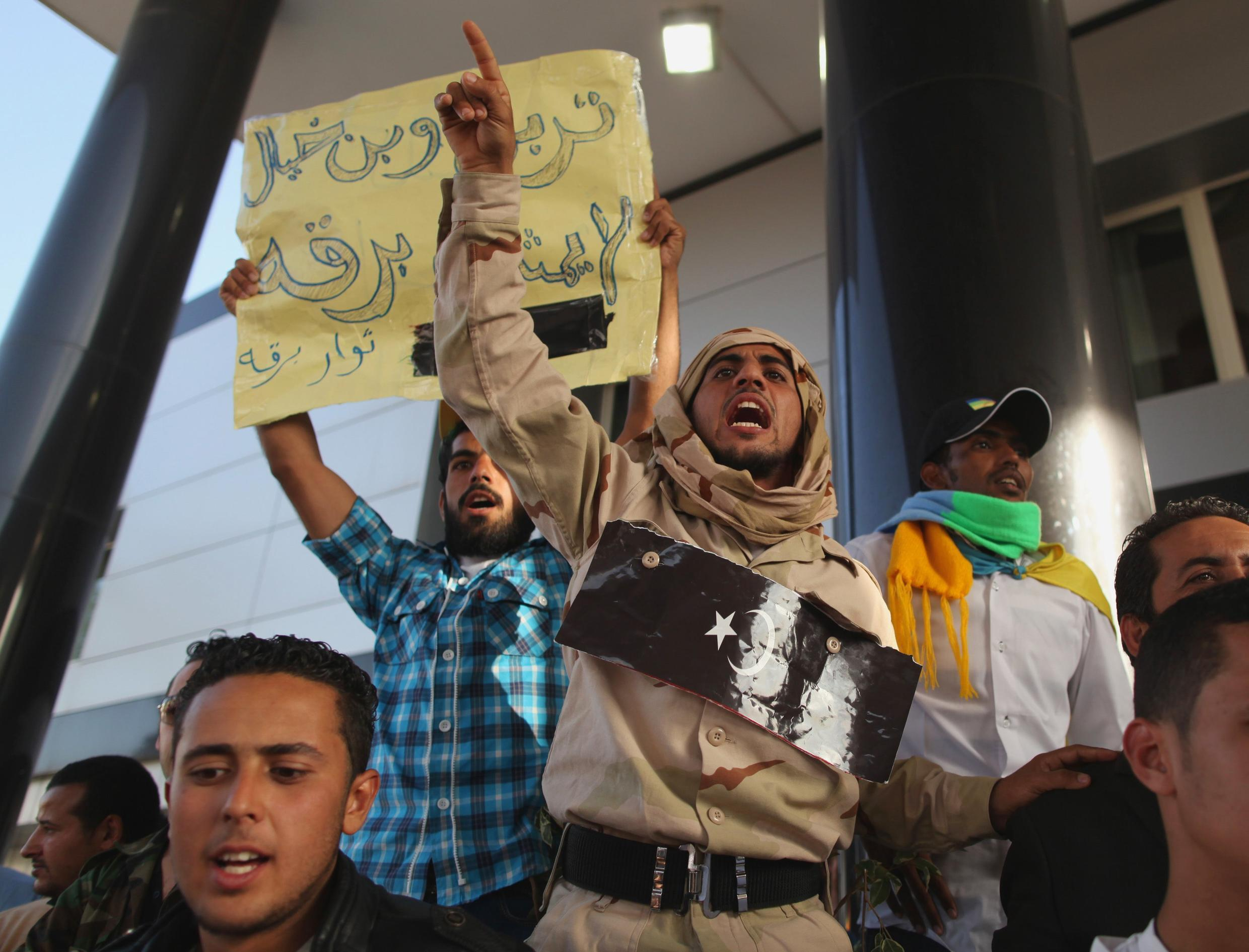 An Amazigh fighter takes part in a protest at the Prime Minister's office in Tripoli