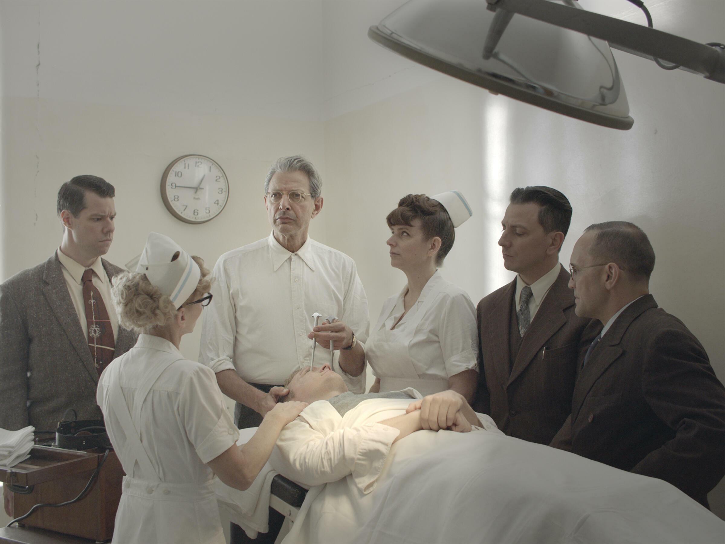Dr Wallace Fiennes (Jeff Goldblum) about to perform a lobotomy through a patient's eye socket in the 2018 film 'The Mountain' by Rick Alverson