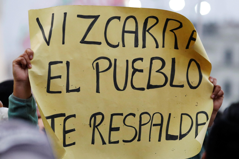 Manifestación para apoyar a Martín Vizcarra y sus reformas, el 18 de septiembre de 2018 en Lima.