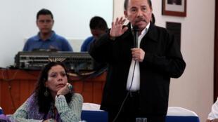 O presidente da Nicarágua, Daniel Ortega, discursa na Conferência Episcopal do país, no primeiro diálogo após quase um mês de protestos que deixaram 58 mortos (16 de maio de 2018)