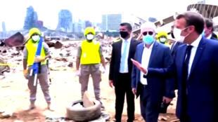 爆炸發生後馬克龍訪問貝魯特2020年8月6日
