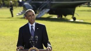Barack Obama se refirió a los ataques en Siria desde la Casa Blanca, el 23 de septiembre de 2014.