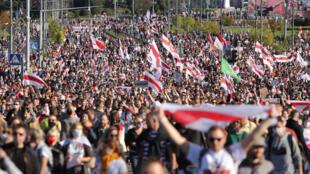 白俄羅斯首都明斯克9月20日示威民眾資料圖片