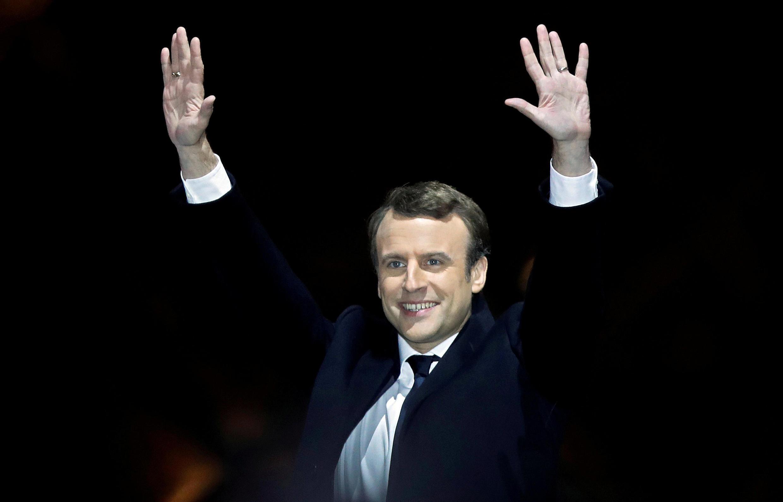 Tổng thống tân cử Pháp Emmanuel Macron mừng chiến thắng tại điện Louvre, Paris, 07/05/2017.
