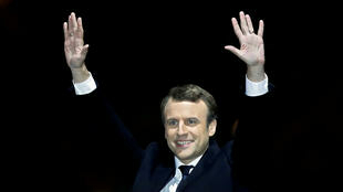 New French President Emmanuel Macron celebrates election victory at the Louvre in Paris, 7 May 2017.